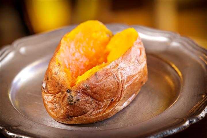 baked sweet potato on a plate
