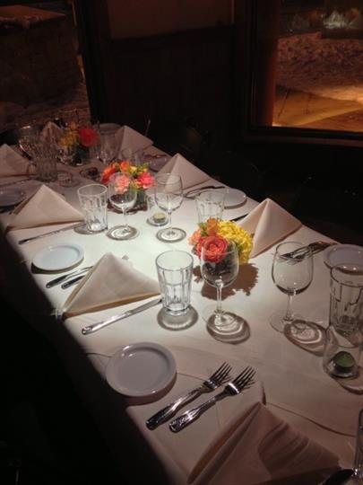 table set with plates, silverware, napkins, glasses