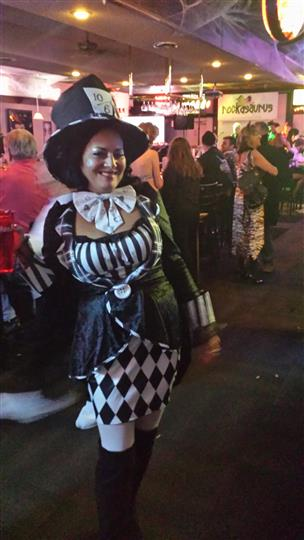 woman dressed as the Mad Hatter from Alice in Wonderland