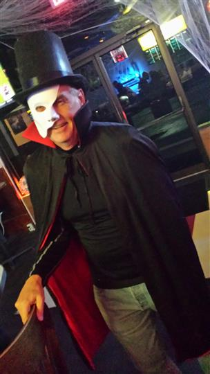man dressed as The Phantom of the Opera