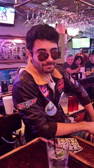 man dressed as Maverick from Top Gun
