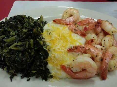 shrimp with cheese and greens