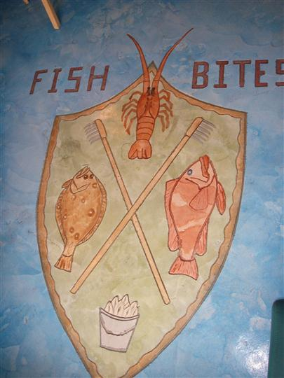 restaurant decor of the fish bites logo