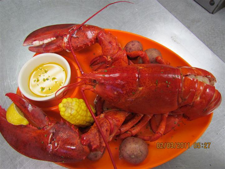 Cooked obster with corn, butter and red potatoes