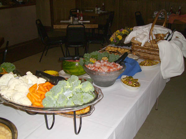Catering table with vegetables