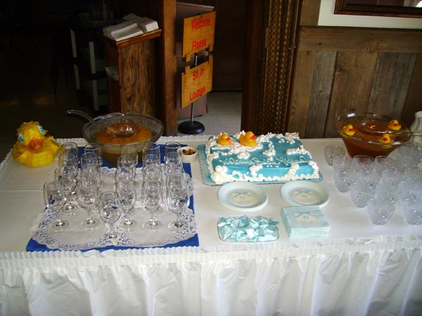 Cake and cups on a table for a event