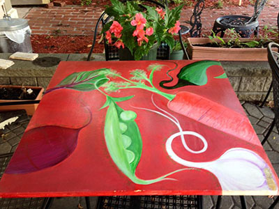 Vegetable painting on a table