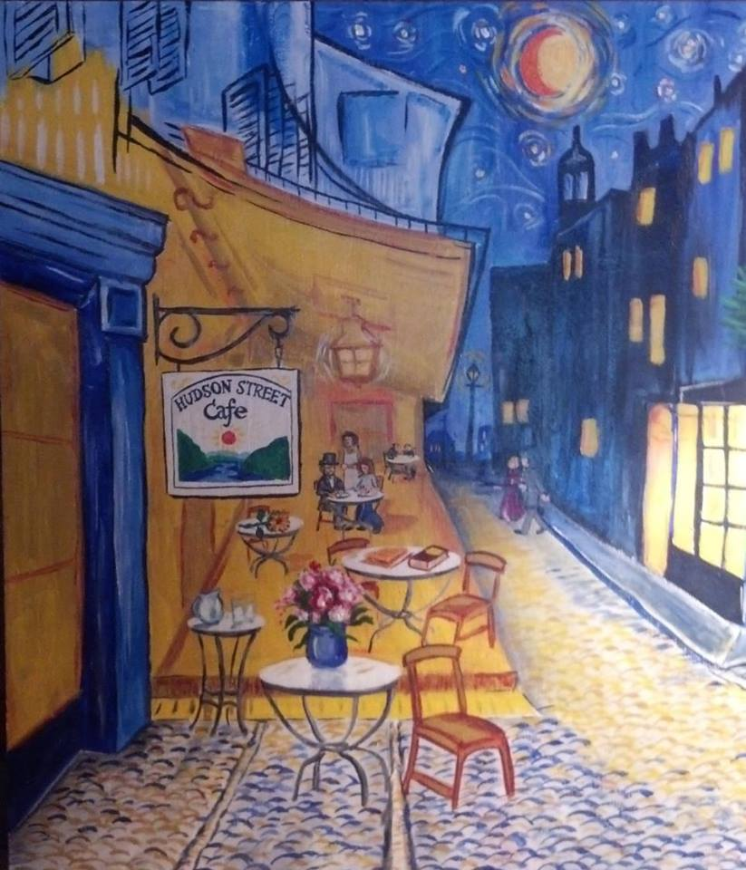 Painting of a cafe