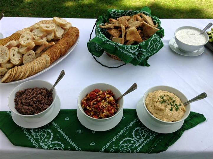 Chips and crackers with a multiple of dips