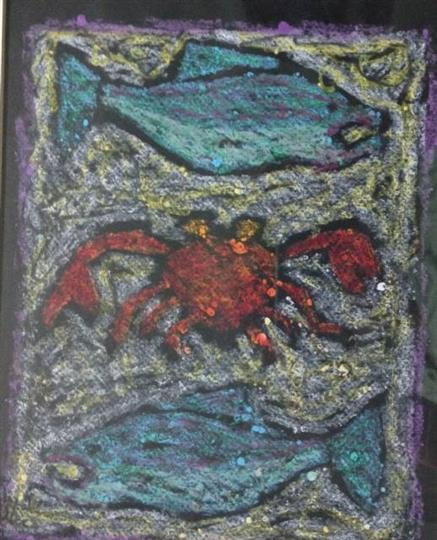 Painting of a crab and fish