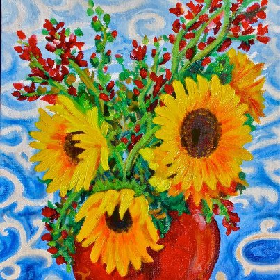 Sunflowers in a pot painting