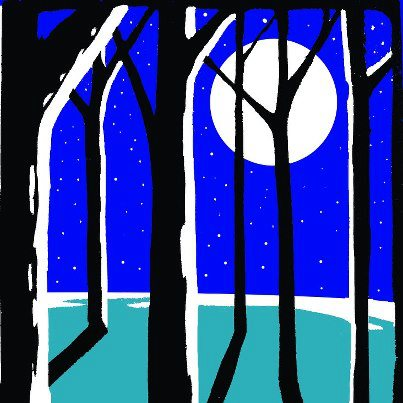 Trees and moonlight painting