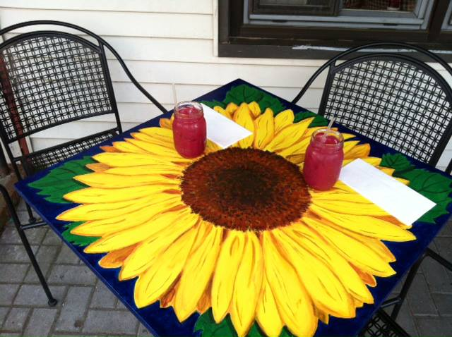 Sunflower painting table