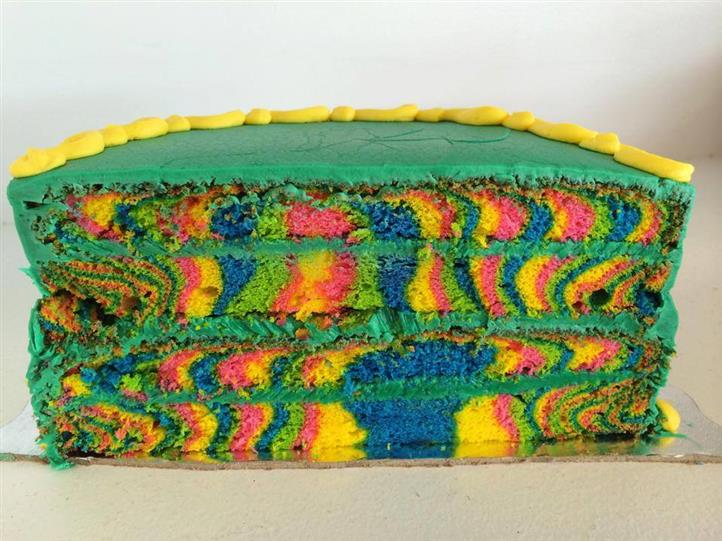 multi-colored cake
