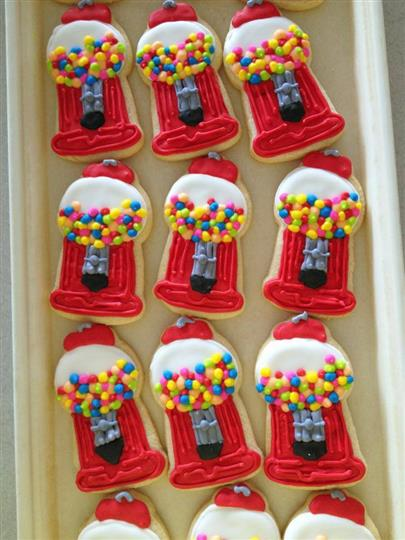 gumball machine decorated cookies