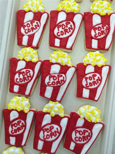 decorated cookies shaped like popcorn