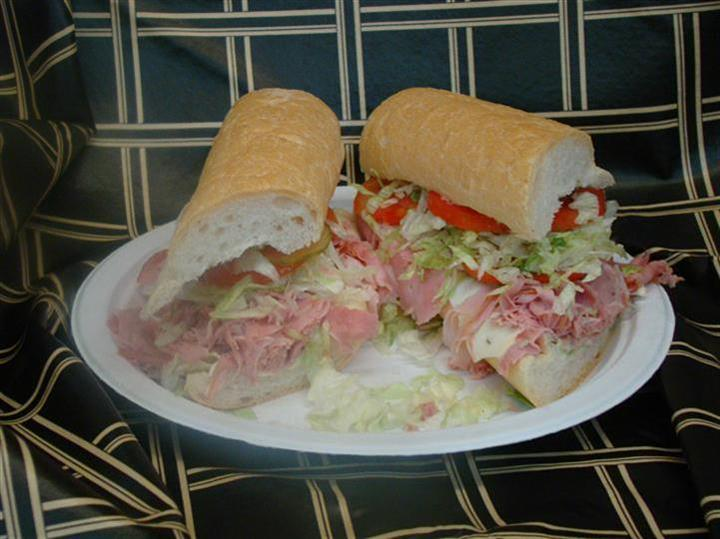 Ham sandwich with lettuce and tomato
