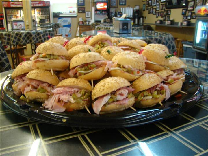 Sandwiches set up on a platter
