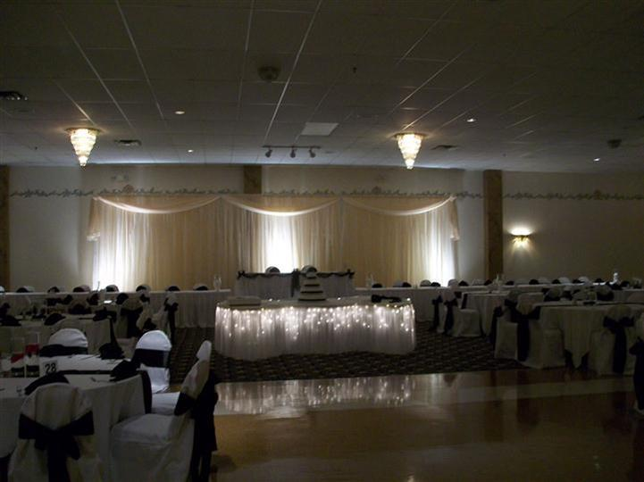 Tables setup with lights for an event