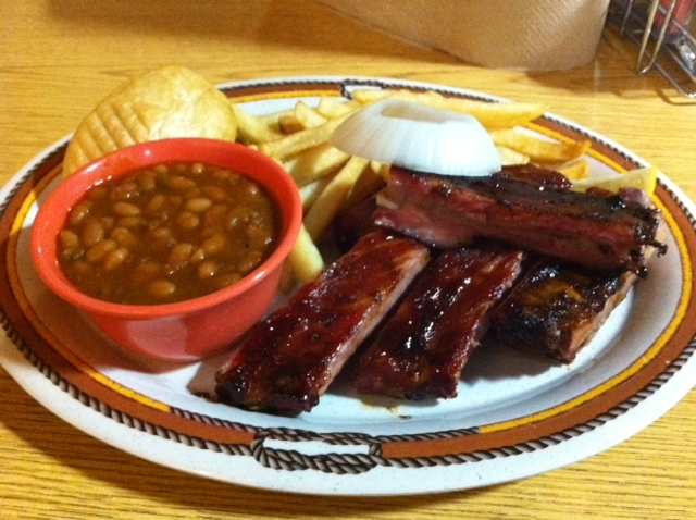 Ribs, french fries, and beans