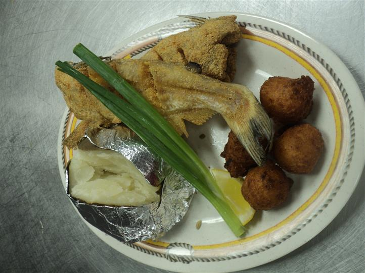 Fried fish with hush puppies