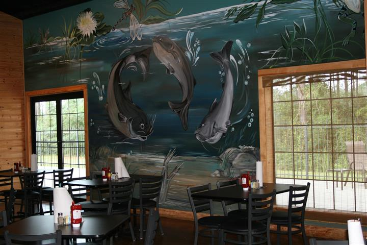 Wall painting with fish