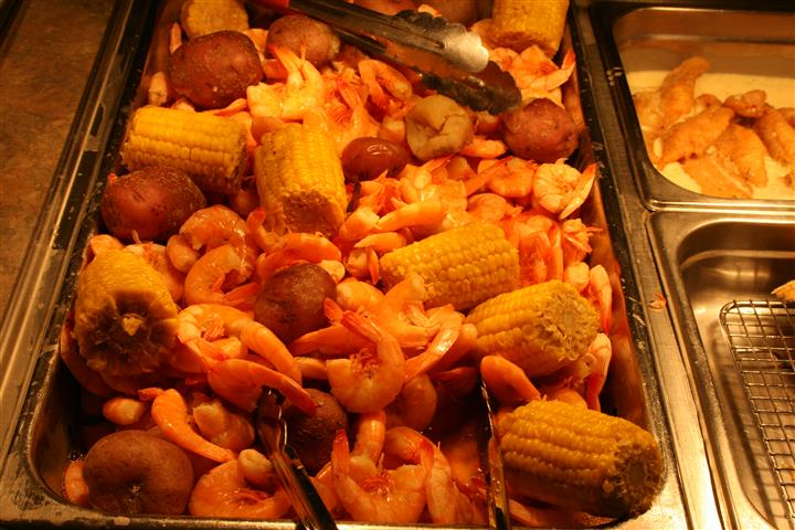 Shrimp, Potatoes, and corn