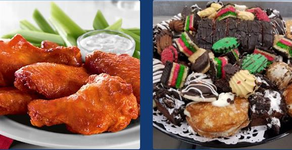 Two Photos. Photo 1: Chicken Wings with bleu cheese and celery.  Photo 2: Assortment of Cookies