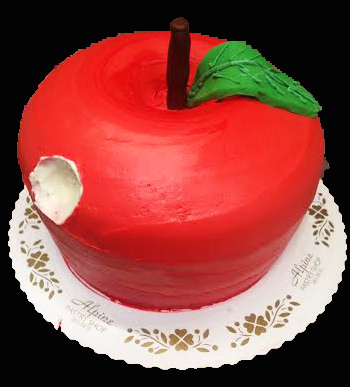 Birthday cake decorated like an apple