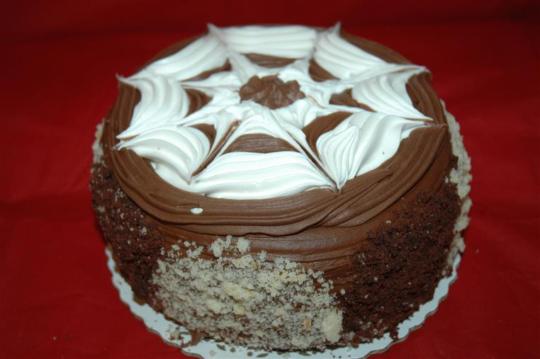 Chocolate cake with chocolate & vanilla frosting