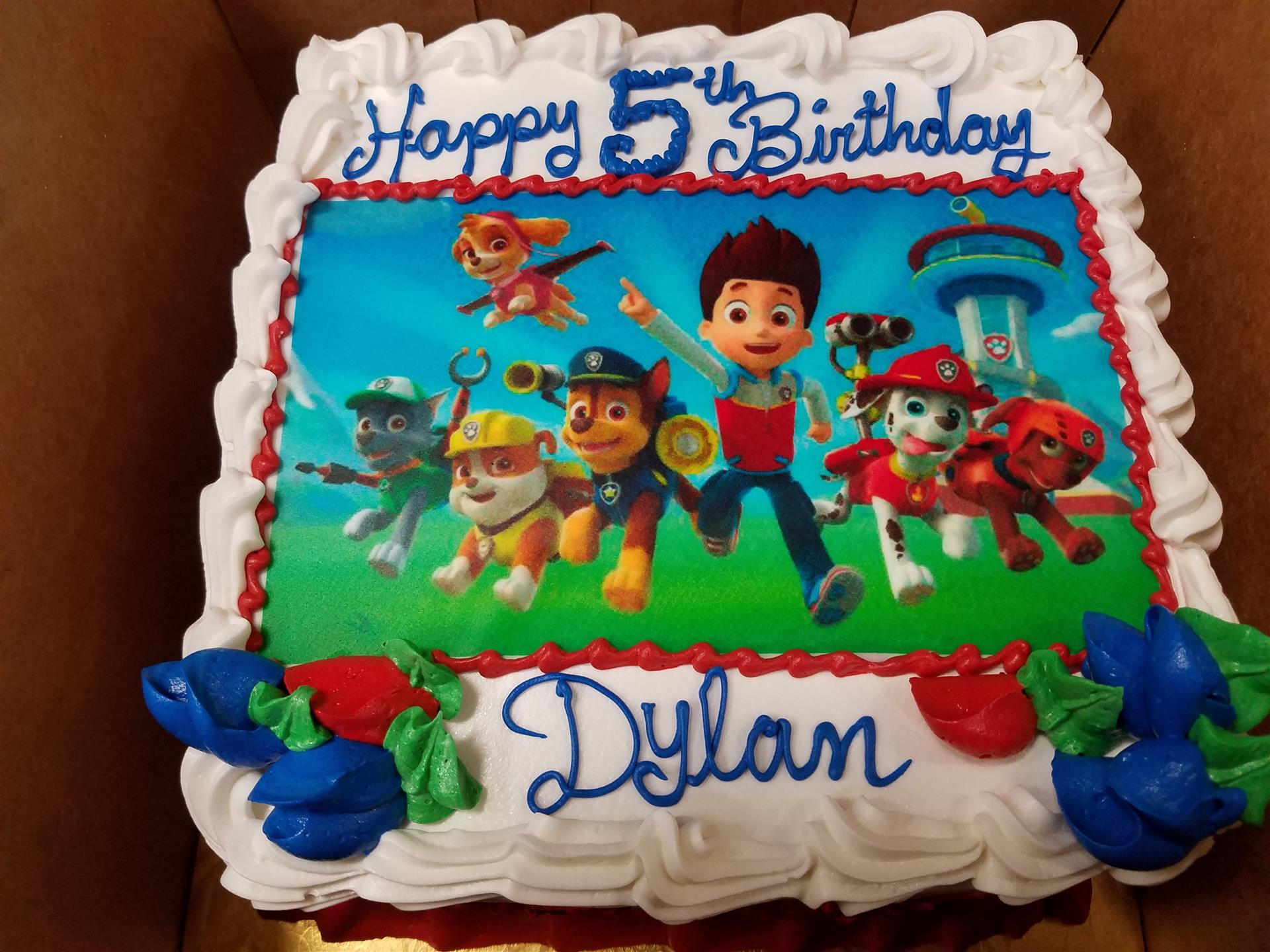 Birthday cake for Dylan with Paw Patrol Design on it.