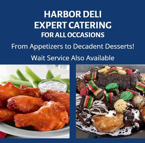 Harbor Deli - Expert Catering for All Occasions- From Appetizers to Decadent Desserts! Wait Service Also Available. Image of Buffalo withs with celery and blue cheese. Image of assorted bakery cookies on a tray.