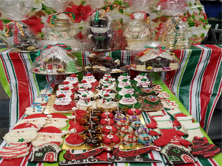 Holiday Cookie Treats on a table on display