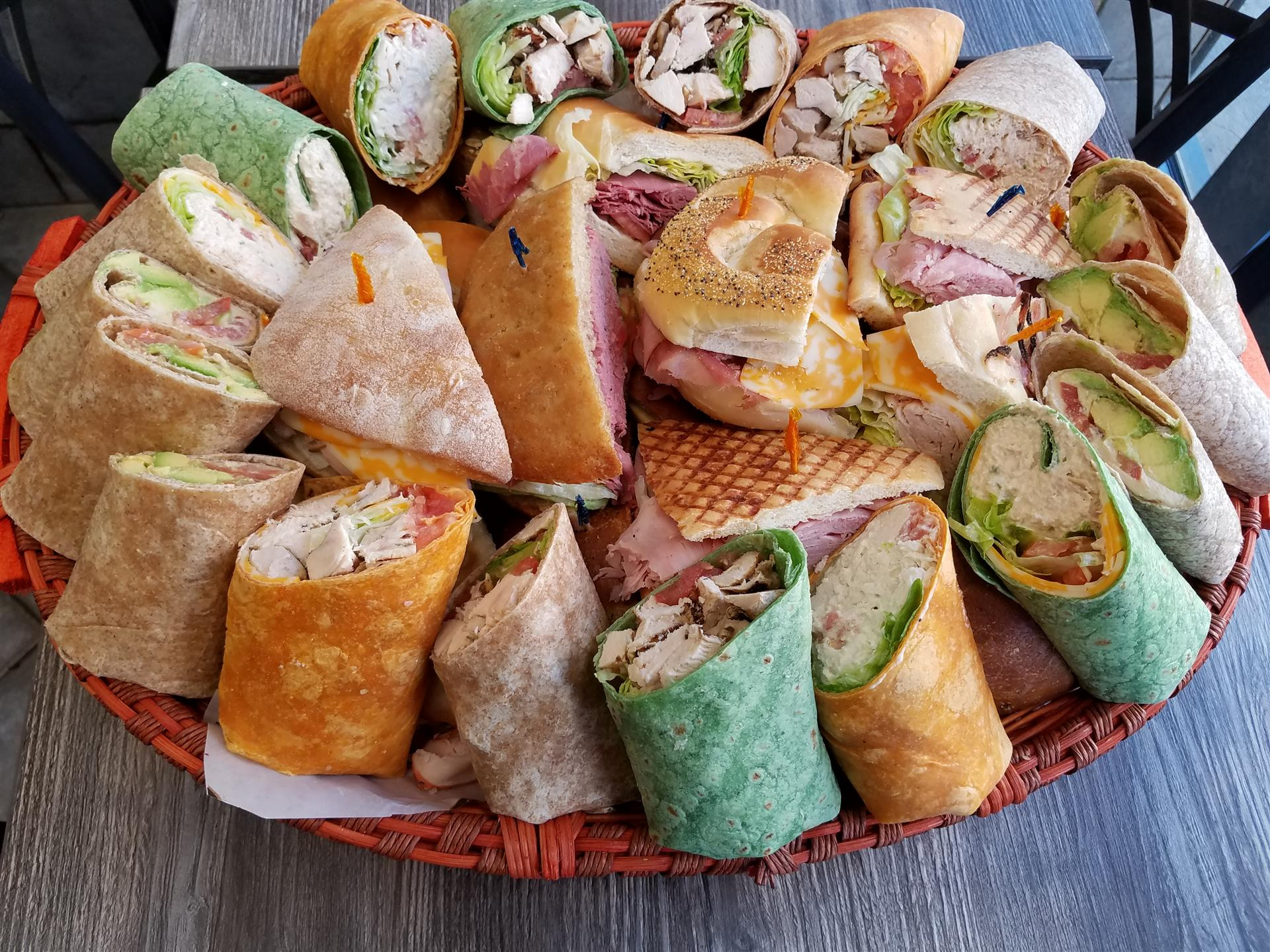 assortment of wraps and paninis