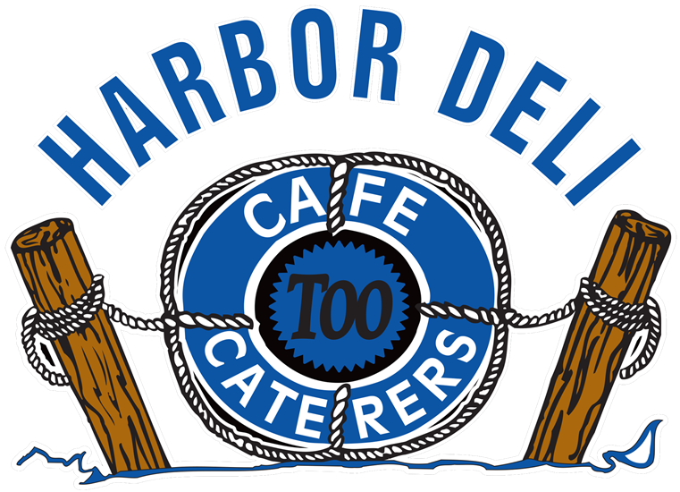 Harbor Deli Too Logo with an illustration of a life raft attached to rope and two poles of a dock