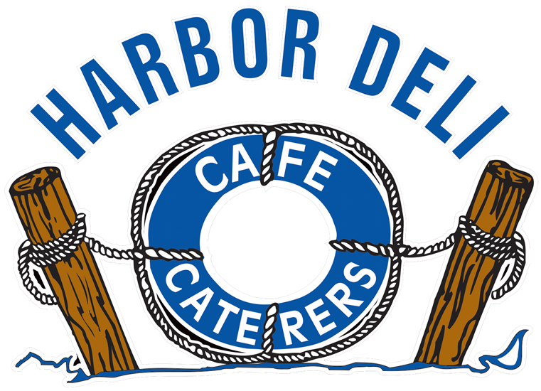 Harbor Deli Logo with an illustration of a life raft attached to rope and two dock poles