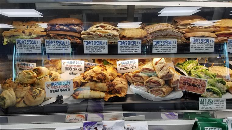 Glass case with special sandwiches