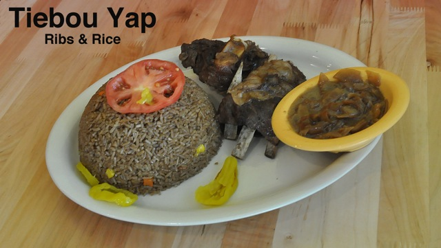 Tiebou Yap (ribs and rice) on a plate