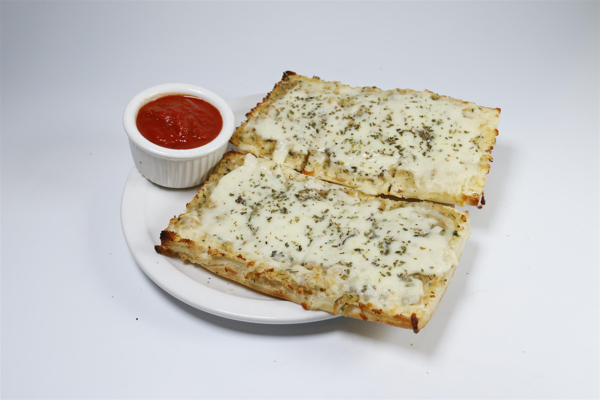 Cheesy Garlic Bread with a side of marinara sauce