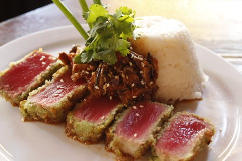 Crispy Wasabi Tuna: Wasabi and panko-crusted ahi tuna steak* with sesame-shiitake salsa and served with jasmine rice.
