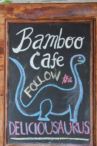 Chalkboard menu drawing. Bamboo cafe. Follow the deliciousauraus.