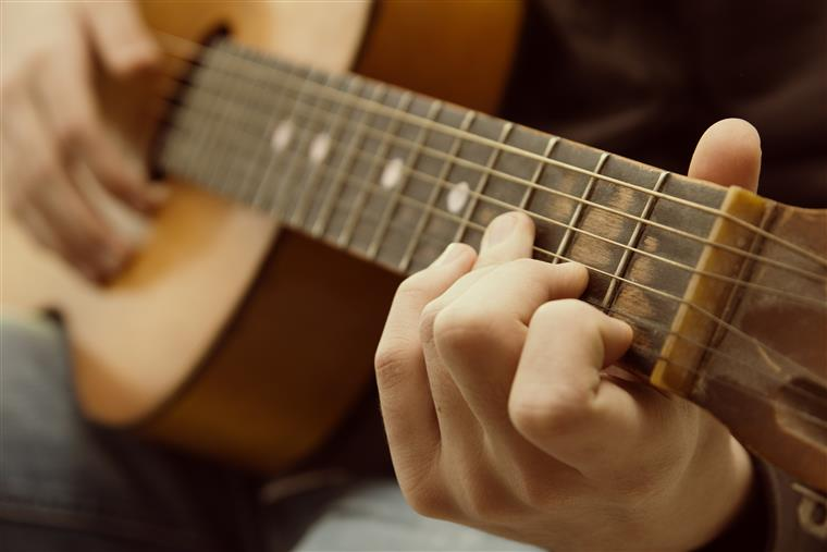 Closeup of guitarist on acoustic guitar.