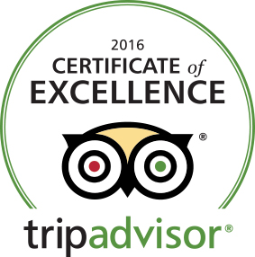 Trip Advisor. 2016 certificate of excellence.