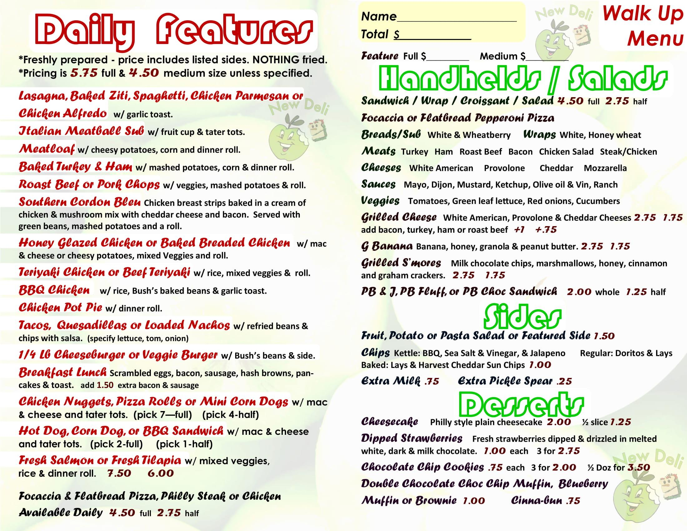 click above for readable walk up menu version