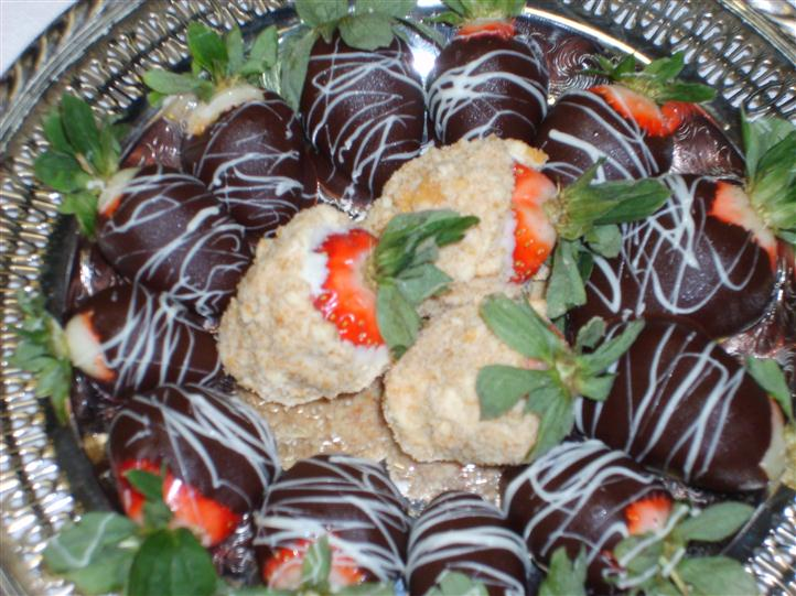 Chocolate covered and candied strawberries