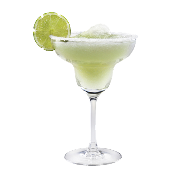 a frozen margarita with a lime wedge