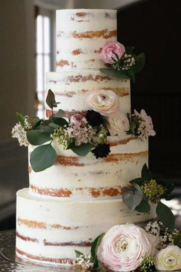 Tall white wedding cake