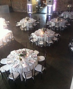 White Cloth, Tables and chairs set up
