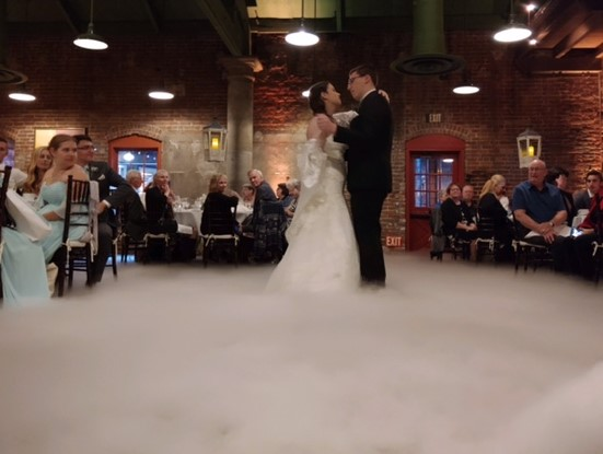 Bride and Groom in Roasting Room dancing