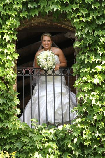 Bride on balcony